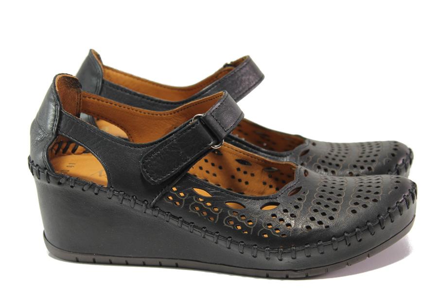 Дамски обувки на платформа - естествена кожа - черни - EO-13783