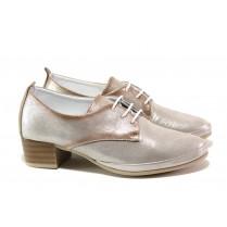 Дамски обувки на среден ток - естествена кожа - сребро - EO-13784