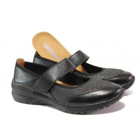 Равни дамски обувки - естествена кожа в съчетание с текстил - черни - EO-13759