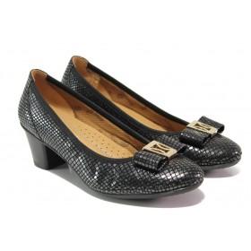 Дамски обувки на среден ток - естествена кожа - черни - EO-13752