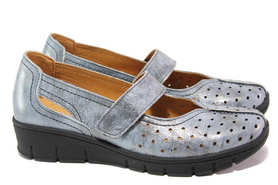 Равни дамски обувки - естествена кожа - сини - EO-13761
