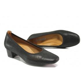 Дамски обувки на среден ток - естествена кожа - черни - EO-13756