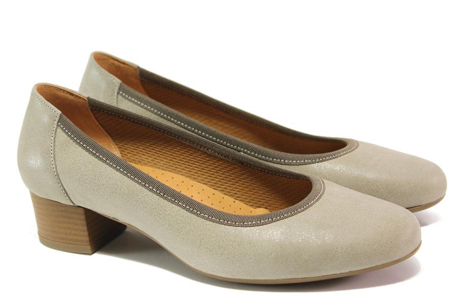 Дамски обувки на среден ток - естествена кожа - бежови - EO-13757