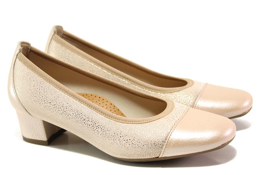 Дамски обувки на среден ток - естествена кожа в съчетание с текстил - розови - EO-13754