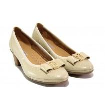 Дамски обувки на среден ток - естествена кожа - бежови - EO-13751
