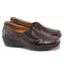 Дамски обувки на платформа - естествена кожа с естествен лак - бордо - EO-13765