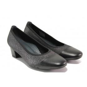 Дамски обувки на среден ток - естествена кожа в съчетание с текстил - черни - EO-13753
