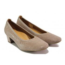 Дамски обувки на среден ток - естествена кожа - бежови - EO-13755