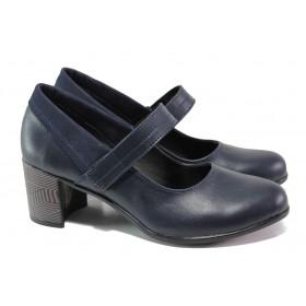 Дамски обувки на среден ток - естествена кожа - тъмносин - EO-13821