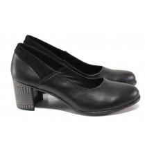 Дамски обувки на среден ток - естествена кожа - черни - EO-13826