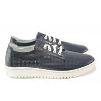 Равни дамски обувки - естествена кожа - тъмносин - EO-13818