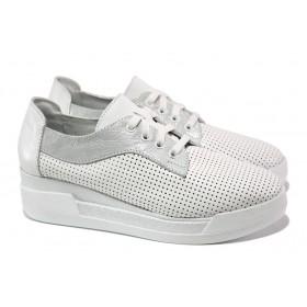 Дамски обувки на платформа - естествена кожа - бели - EO-13820