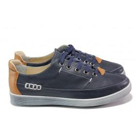 Равни дамски обувки - естествена кожа - тъмносин - EO-13872