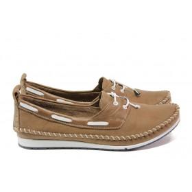 Равни дамски обувки - естествена кожа - кафяви - EO-13871