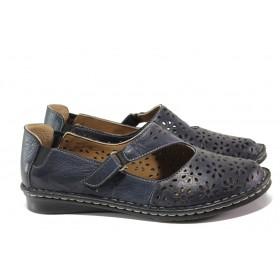 Равни дамски обувки - естествена кожа - тъмносин - EO-13887