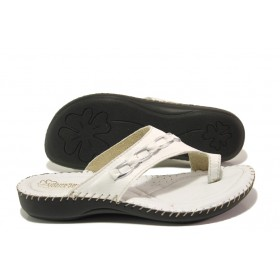 Дамски чехли - естествена кожа - бели - EO-13892
