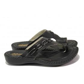 Дамски чехли - естествена кожа - черни - EO-13893