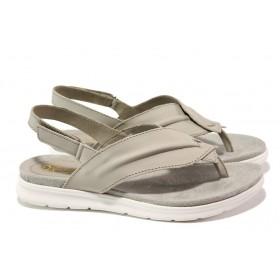 Дамски сандали - естествена кожа - сиви - EO-13894