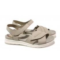 Дамски сандали - естествена кожа - сиви - EO-13895