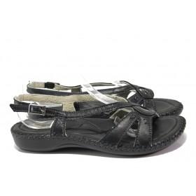 Дамски сандали - естествена кожа - черни - EO-13897