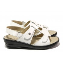 Дамски сандали - естествена кожа - бели - EO-13889