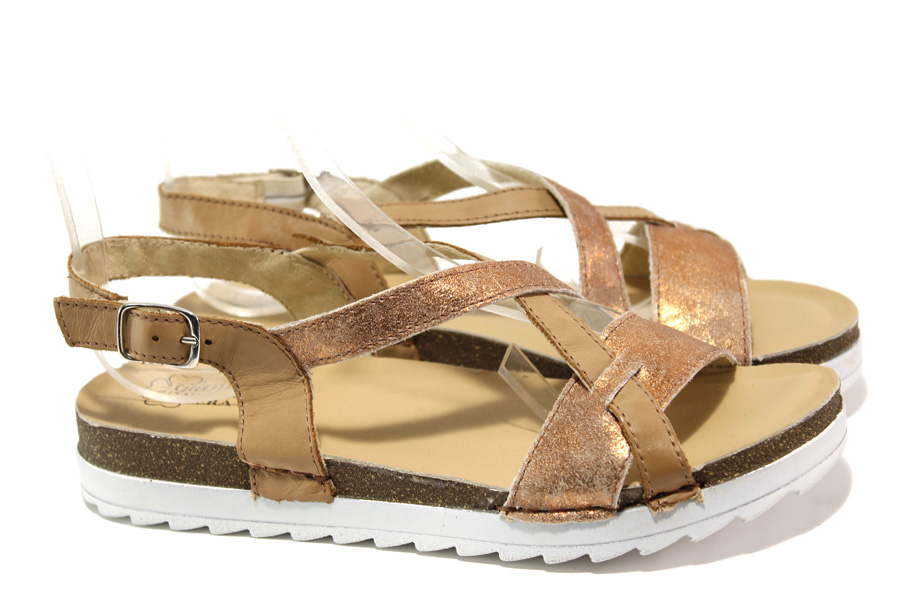 Дамски сандали - естествена кожа - кафяви - EO-13890