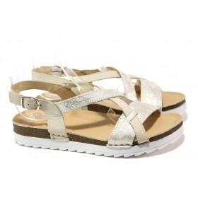 Дамски сандали - естествена кожа - бежови - EO-13891