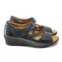 Дамски обувки на платформа - естествена кожа-лак - сиви - EO-13922