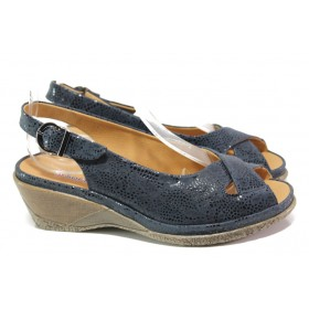Дамски сандали - естествена кожа - тъмносин - EO-13923