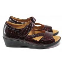 Дамски обувки на платформа - естествена кожа-лак - бордо - EO-13921