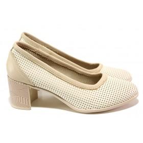 Дамски обувки на среден ток - естествена кожа - бежови - EO-13947