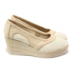 Дамски обувки на платформа - естествена кожа - бежови - EO-13946