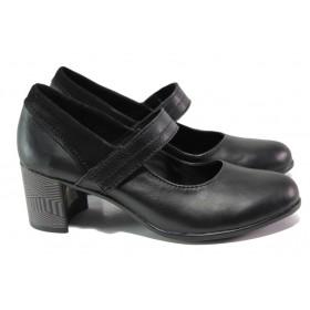 Дамски обувки на среден ток - естествена кожа - черни - EO-13948