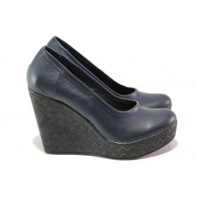 Дамски обувки на платформа - естествена кожа - тъмносин - EO-13944