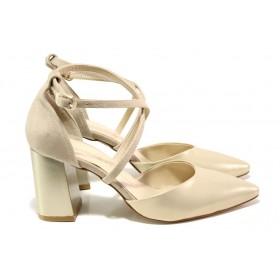 Дамски обувки на висок ток - висококачествена еко-кожа - бежови - EO-14001