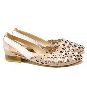 Равни дамски обувки - естествена кожа - розови - EO-13992