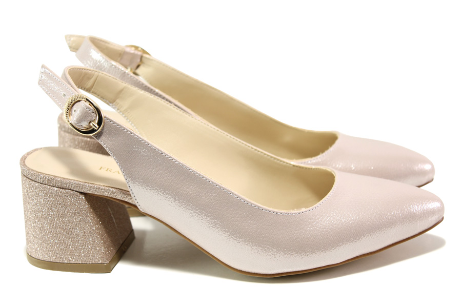 Дамски обувки на среден ток - висококачествена еко-кожа - розови - EO-13999