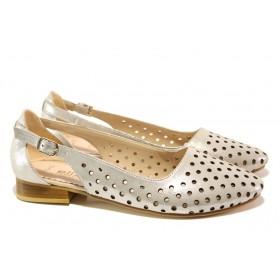 Равни дамски обувки - естествена кожа - бежови - EO-13993