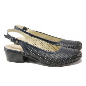 Дамски обувки на среден ток - естествена кожа - тъмносин - EO-13996
