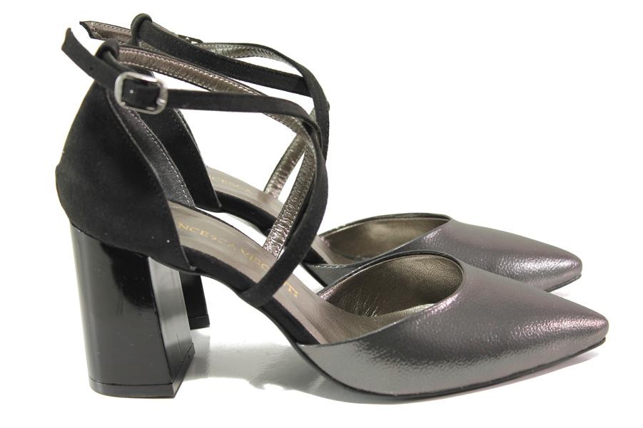 Дамски обувки на висок ток - висококачествена еко-кожа - сиви - EO-14000