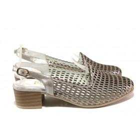 Дамски обувки на среден ток - естествена кожа - сиви - EO-13997
