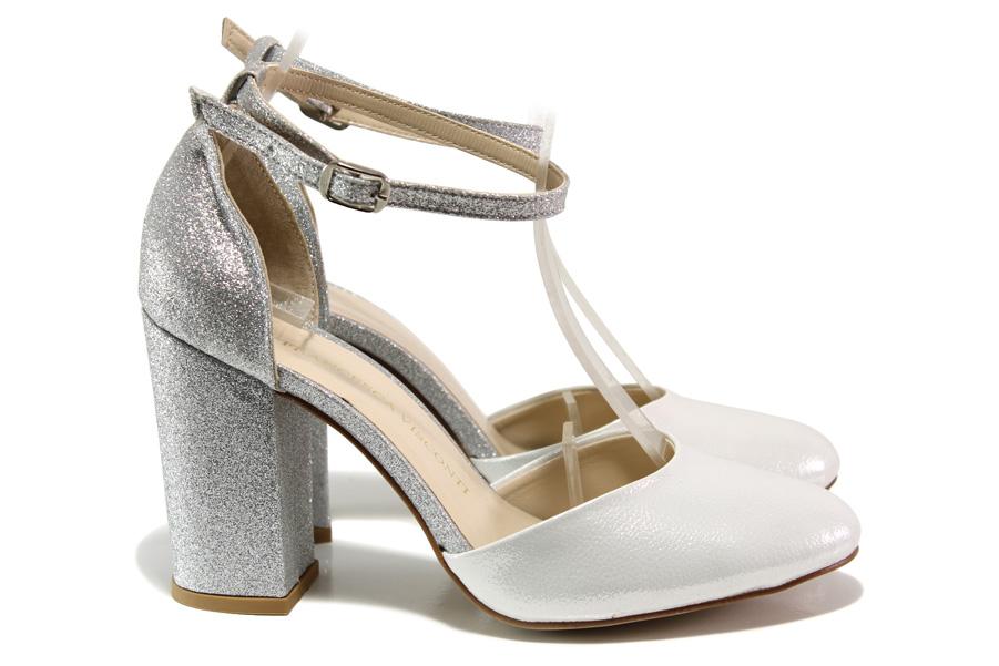 Дамски обувки на висок ток - висококачествена еко-кожа - сребро - EO-14012