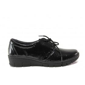 Дамски обувки на платформа - естествена кожа-лак - черни - EO-14319