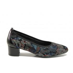 Дамски обувки на среден ток - естествена кожа - сини - EO-14296