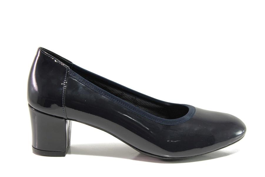 Дамски обувки на среден ток - естествена кожа-лак - тъмносин - EO-14309