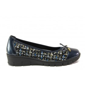 Равни дамски обувки - естествена кожа - сини - EO-14287