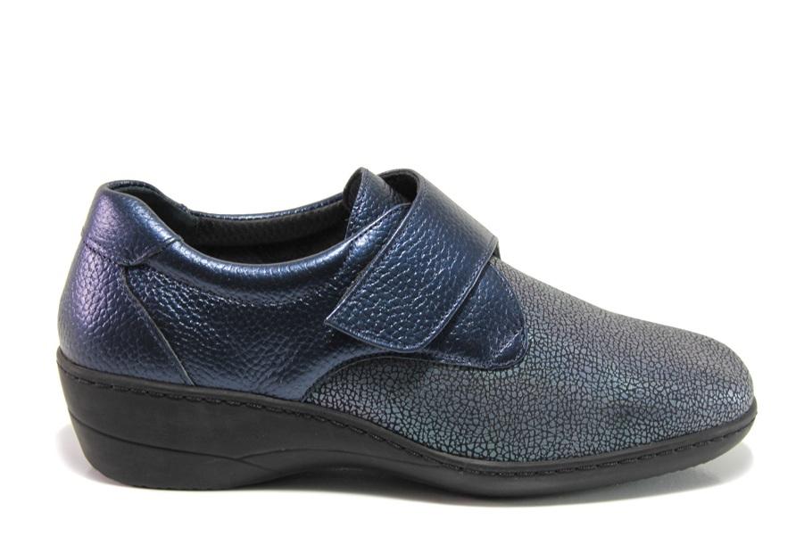 Дамски обувки на платформа - естествена кожа - тъмносин - EO-14318
