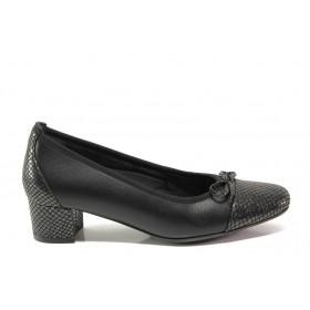 Дамски обувки на среден ток - естествена кожа - черни - EO-14302