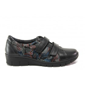 Равни дамски обувки - естествена кожа - тъмносин - EO-14321