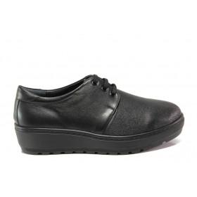 Дамски обувки на платформа - естествена кожа - черни - EO-14280